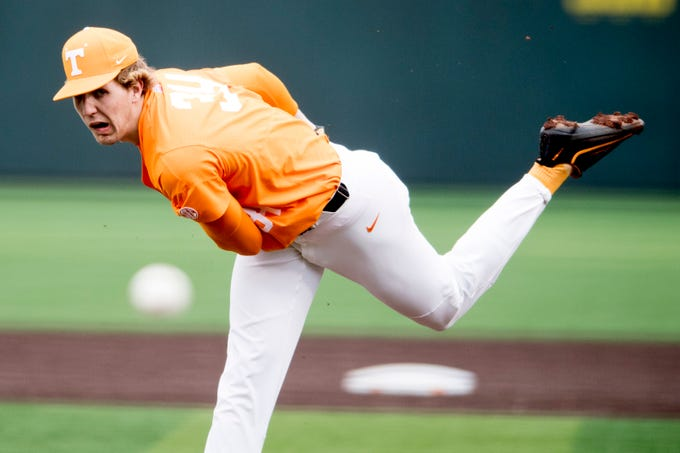 Tennessee pitcher Garrett Crochet (34) pitches during a Tennessee baseball home opener game against Appalachian State at Lindsey Nelson Stadium in Knoxville, Tennessee on Saturday, February 16, 2019.