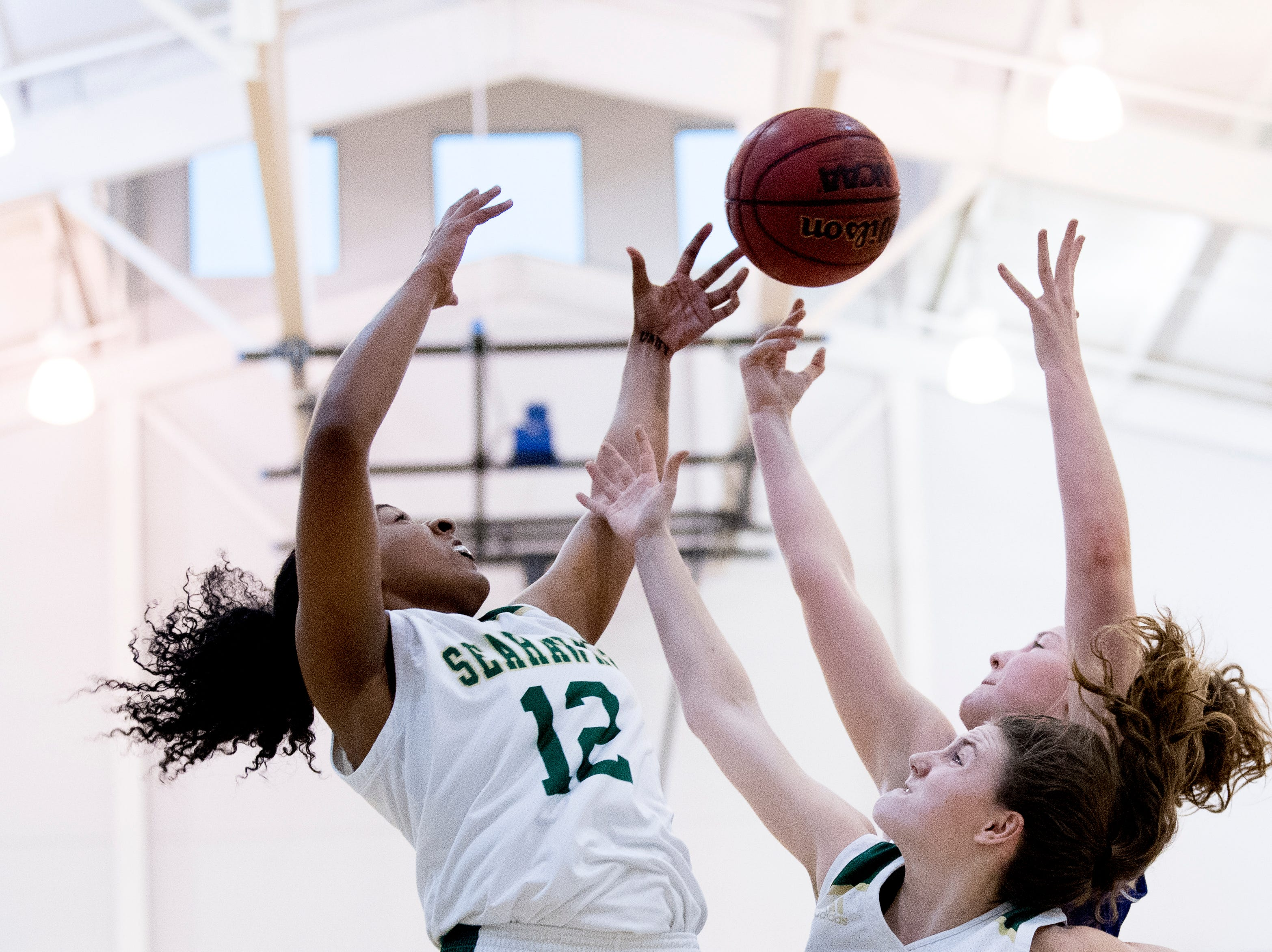 Silverdale's Laney Bone (12) and other Silverdale players battle for the ball during a semifinal game between CAK and Silverdale at Webb School of Knoxville in Knoxville, Tennessee on Friday, February 15, 2019.