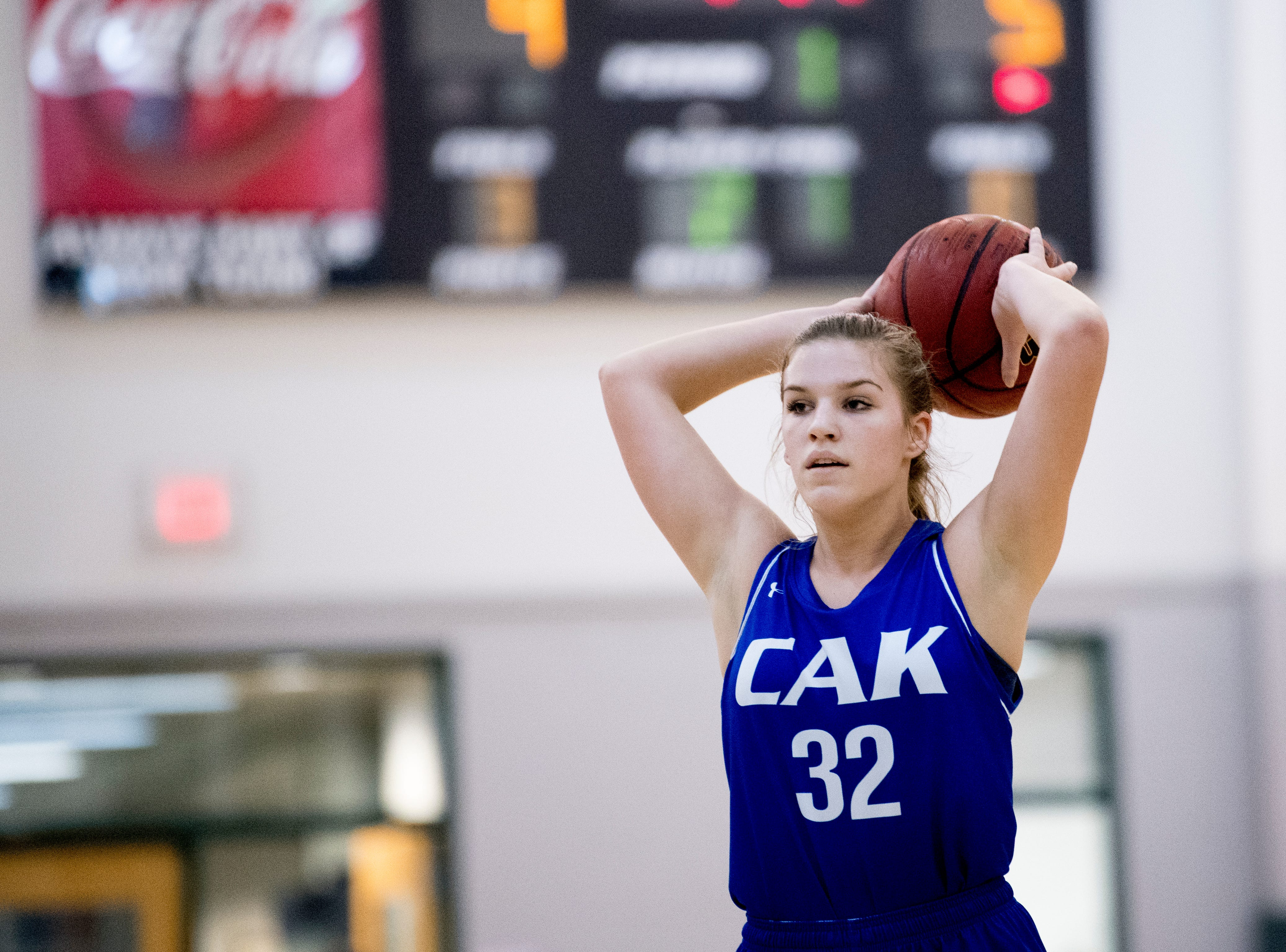 CAK's Mackenna Mozingo (32) looks to pass during a semifinal game between CAK and Silverdale at Webb School of Knoxville in Knoxville, Tennessee on Friday, February 15, 2019.
