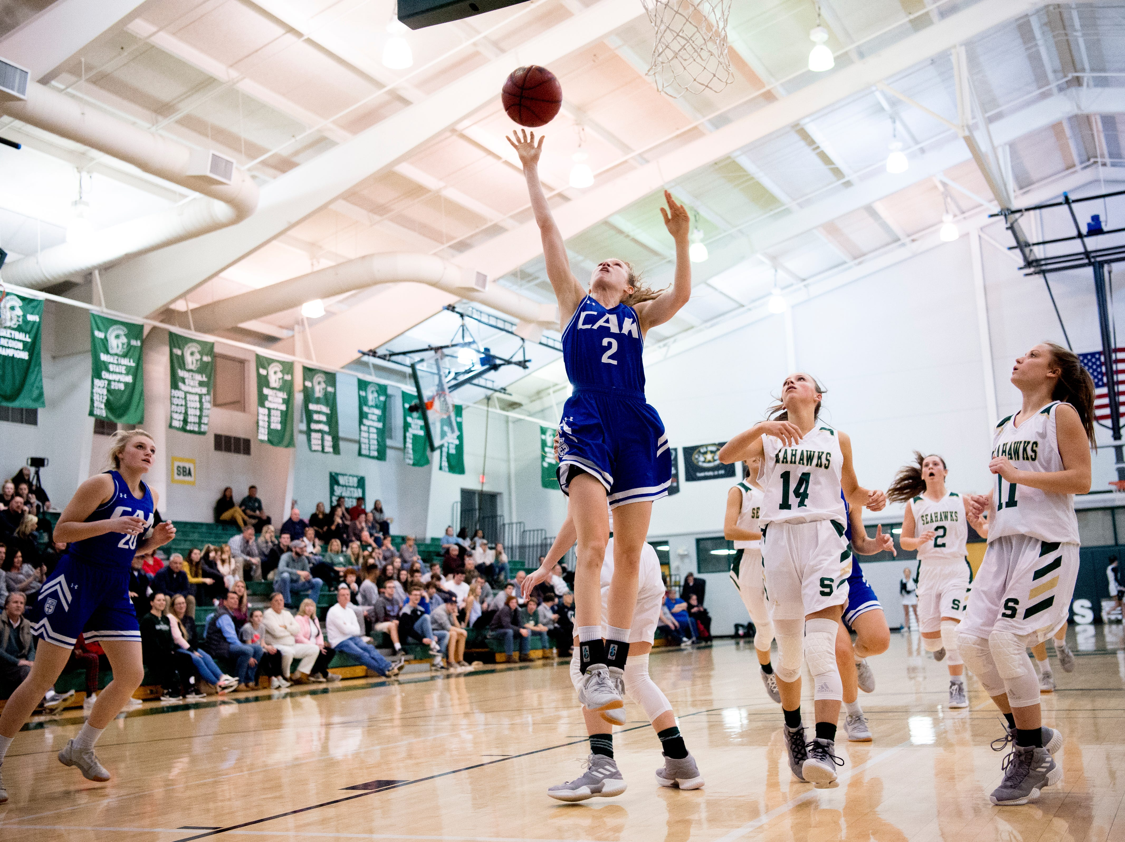 CAK's Claire Brock (2) shoots the ball for a point during a semifinal game between CAK and Silverdale at Webb School of Knoxville in Knoxville, Tennessee on Friday, February 15, 2019.