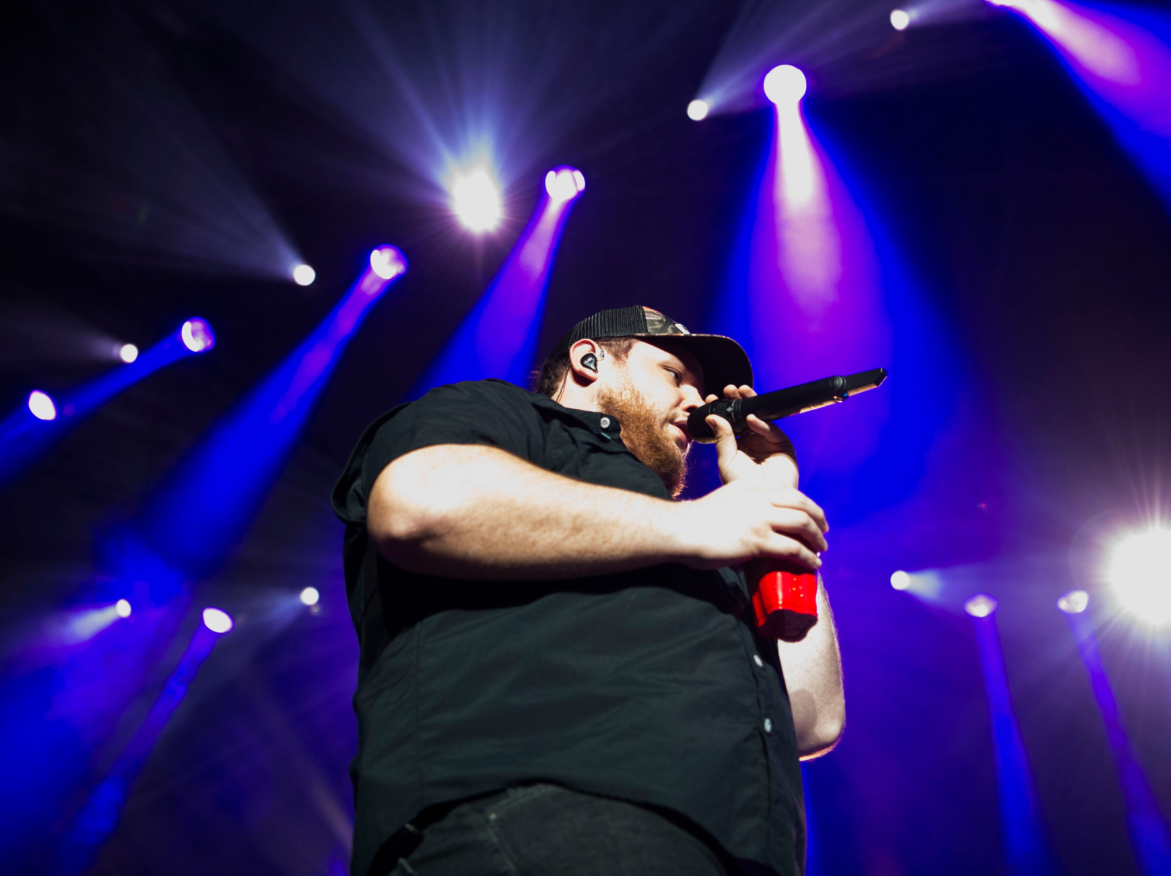Luke Combs performs in Thompson-Boling Arena in Knoxville Friday, Feb. 15, 2019.