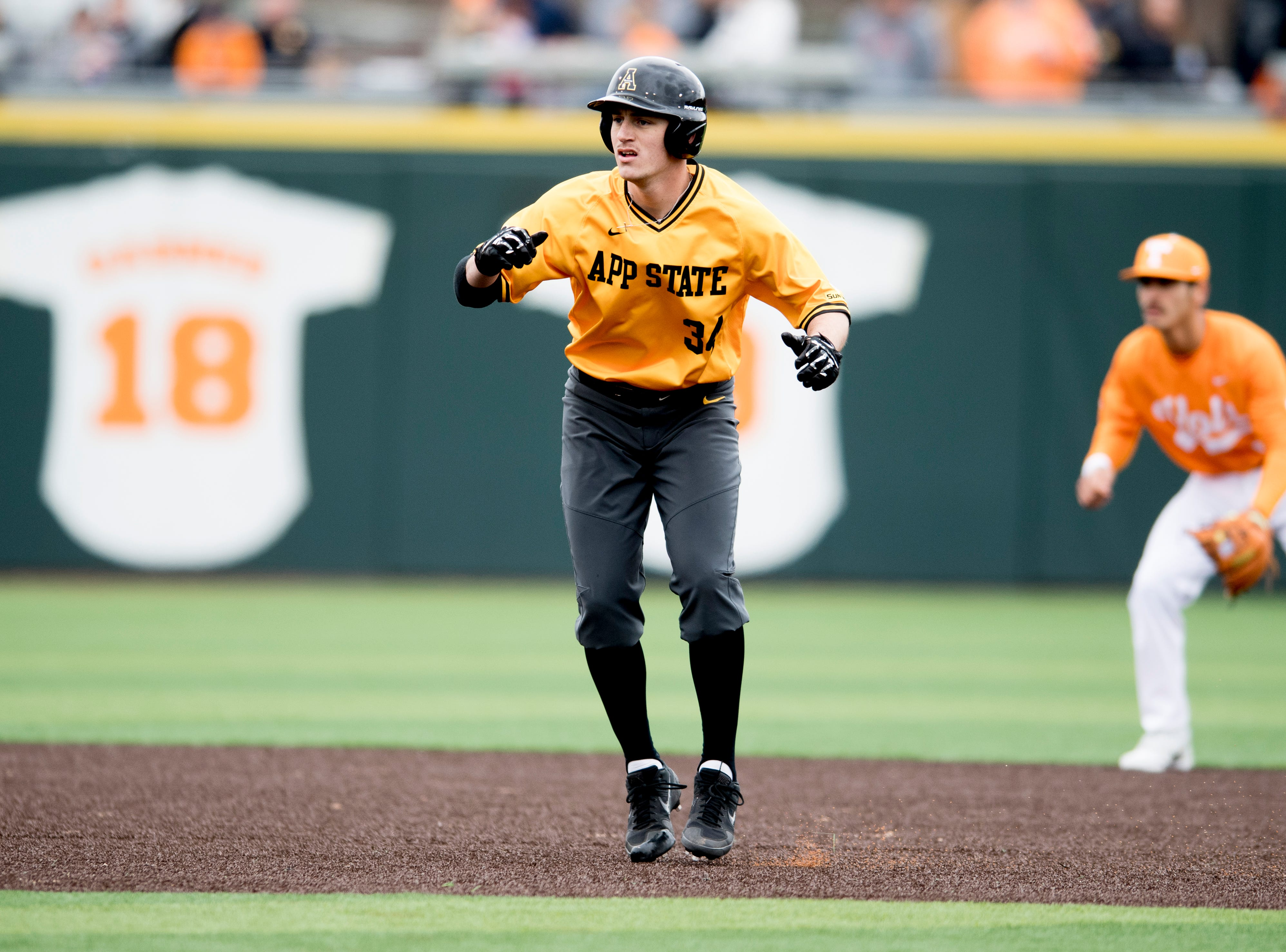 Appalachian State's  Phillip Cole (34) looks to steal second during a Tennessee baseball home opener game against Appalachian State at Lindsey Nelson Stadium in Knoxville, Tennessee on Saturday, February 16, 2019.