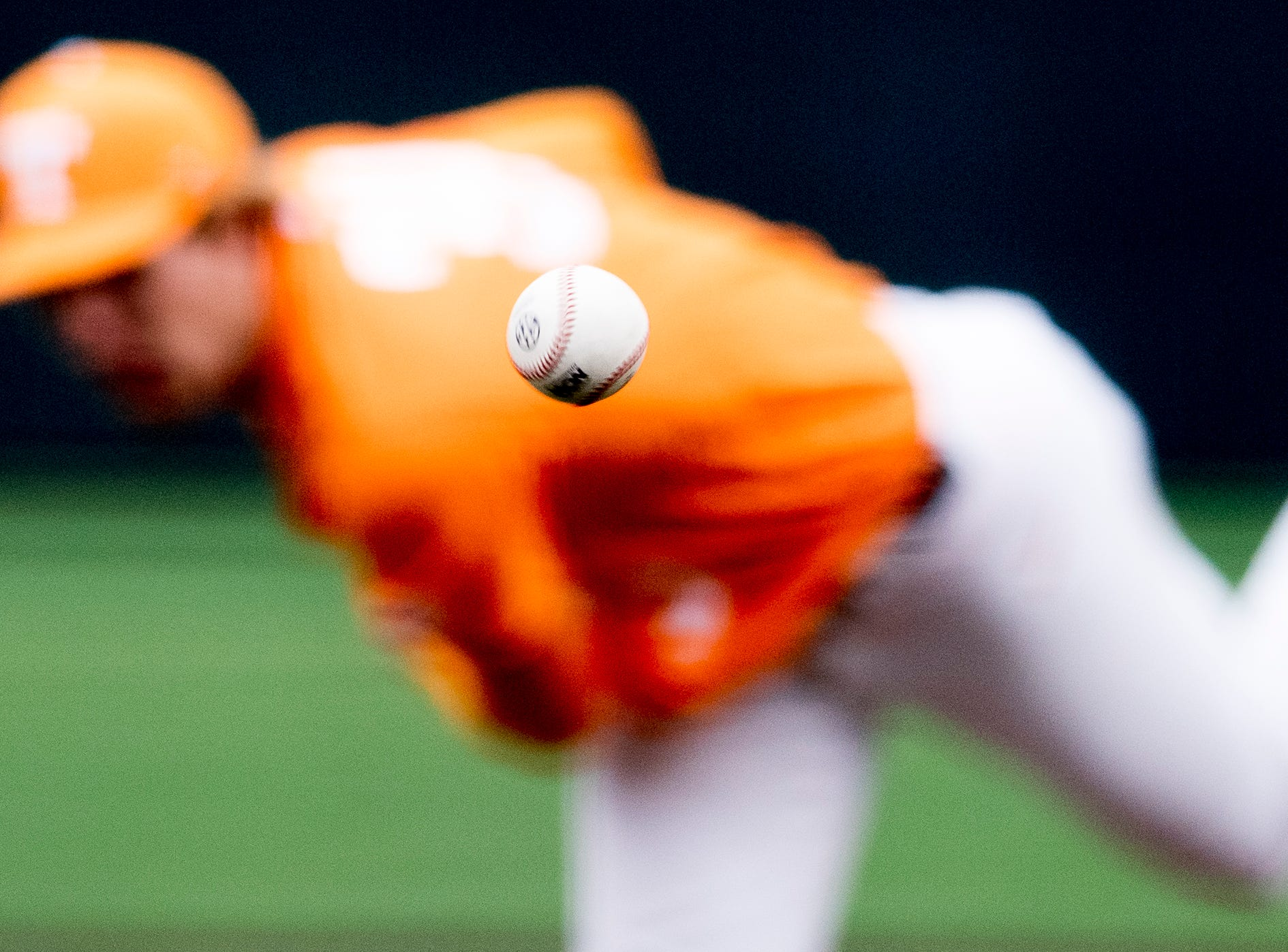 Tennessee pitcher Garrett Crochet (34) pitches the ball during a Tennessee baseball home opener game against Appalachian State at Lindsey Nelson Stadium in Knoxville, Tennessee on Saturday, February 16, 2019.