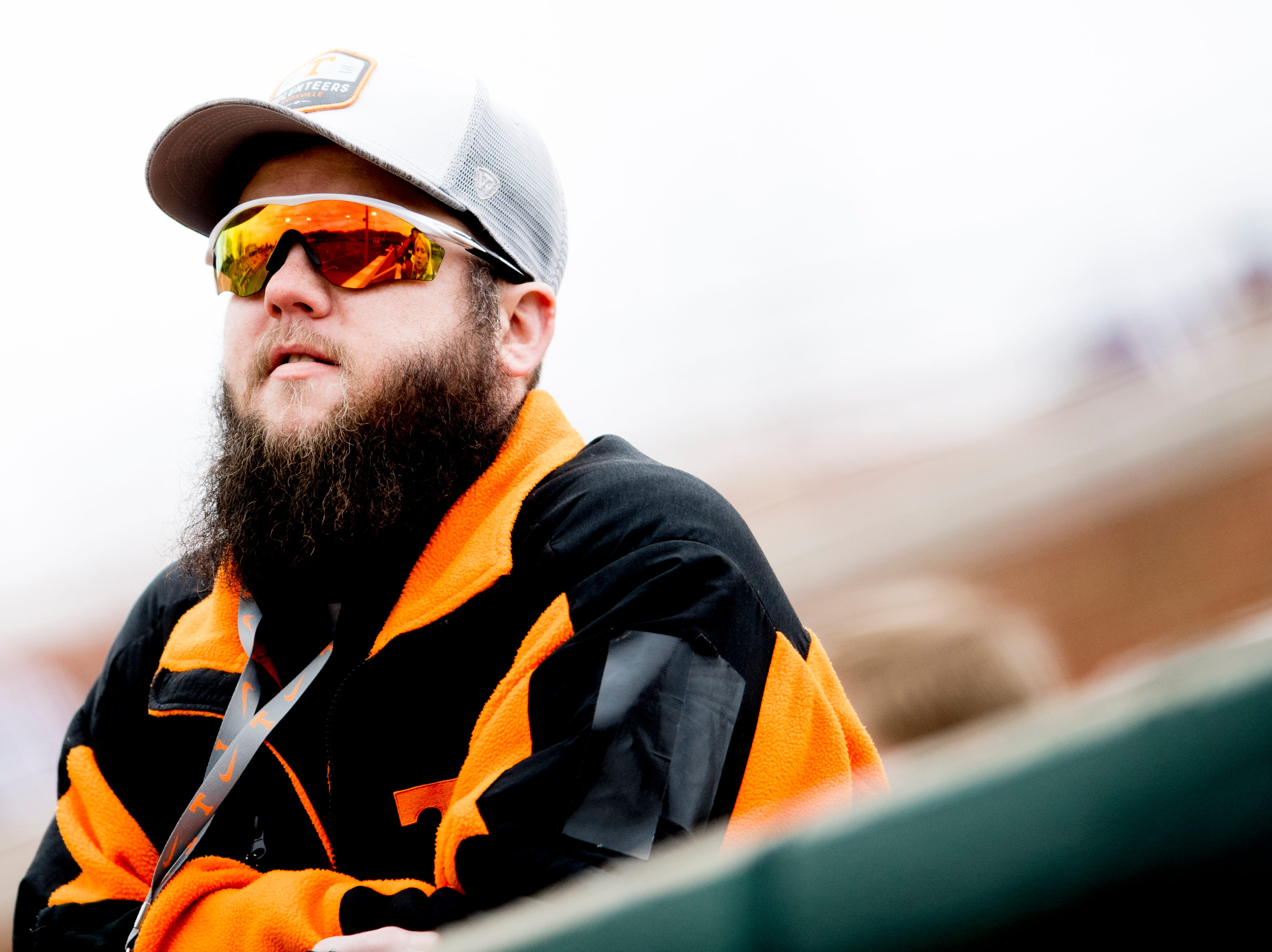 A Tennessee fan watches the game action during a Tennessee baseball home opener game against Appalachian State at Lindsey Nelson Stadium in Knoxville, Tennessee on Saturday, February 16, 2019.