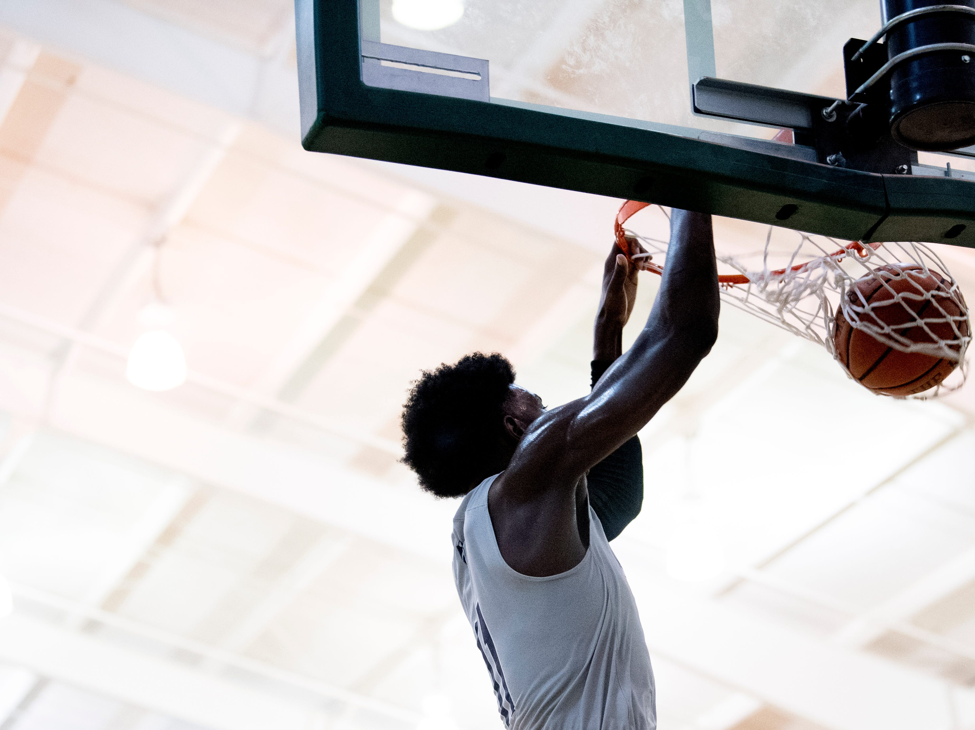 Grace Christian's BJ Marable (11) dunks during a semifinal game between Grace Christian and Chattanooga Christian at Webb School of Knoxville in Knoxville, Tennessee on Friday, February 15, 2019.