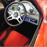 The control panel of the three-seat Defiant EV3 Roadster from Shockwave Motors of Tennessee.