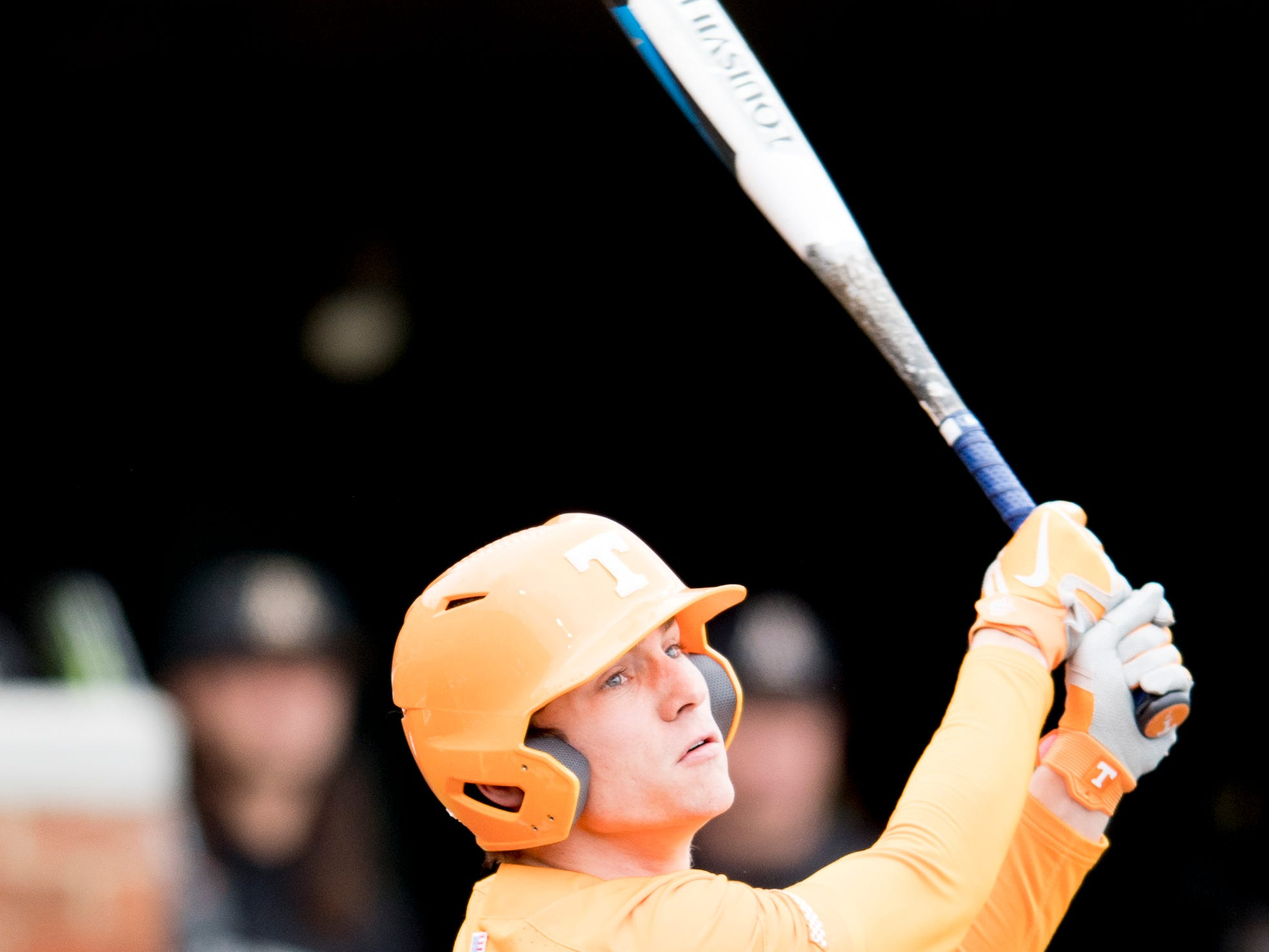 Tennessee infielder Jake Rucker (7) swings during a Tennessee baseball home opener game against Appalachian State at Lindsey Nelson Stadium in Knoxville, Tennessee on Saturday, February 16, 2019.