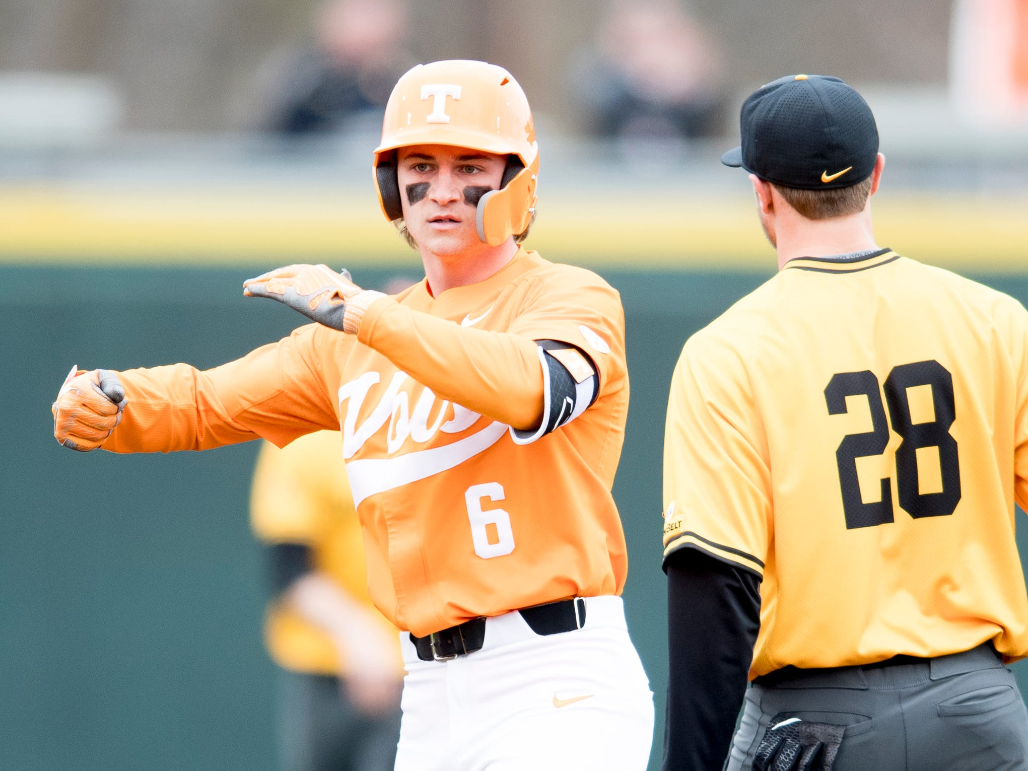Tennessee outfielder Evan Russell (6) celebrates after a two base hit during a Tennessee baseball home opener game against Appalachian State at Lindsey Nelson Stadium in Knoxville, Tennessee on Saturday, February 16, 2019.