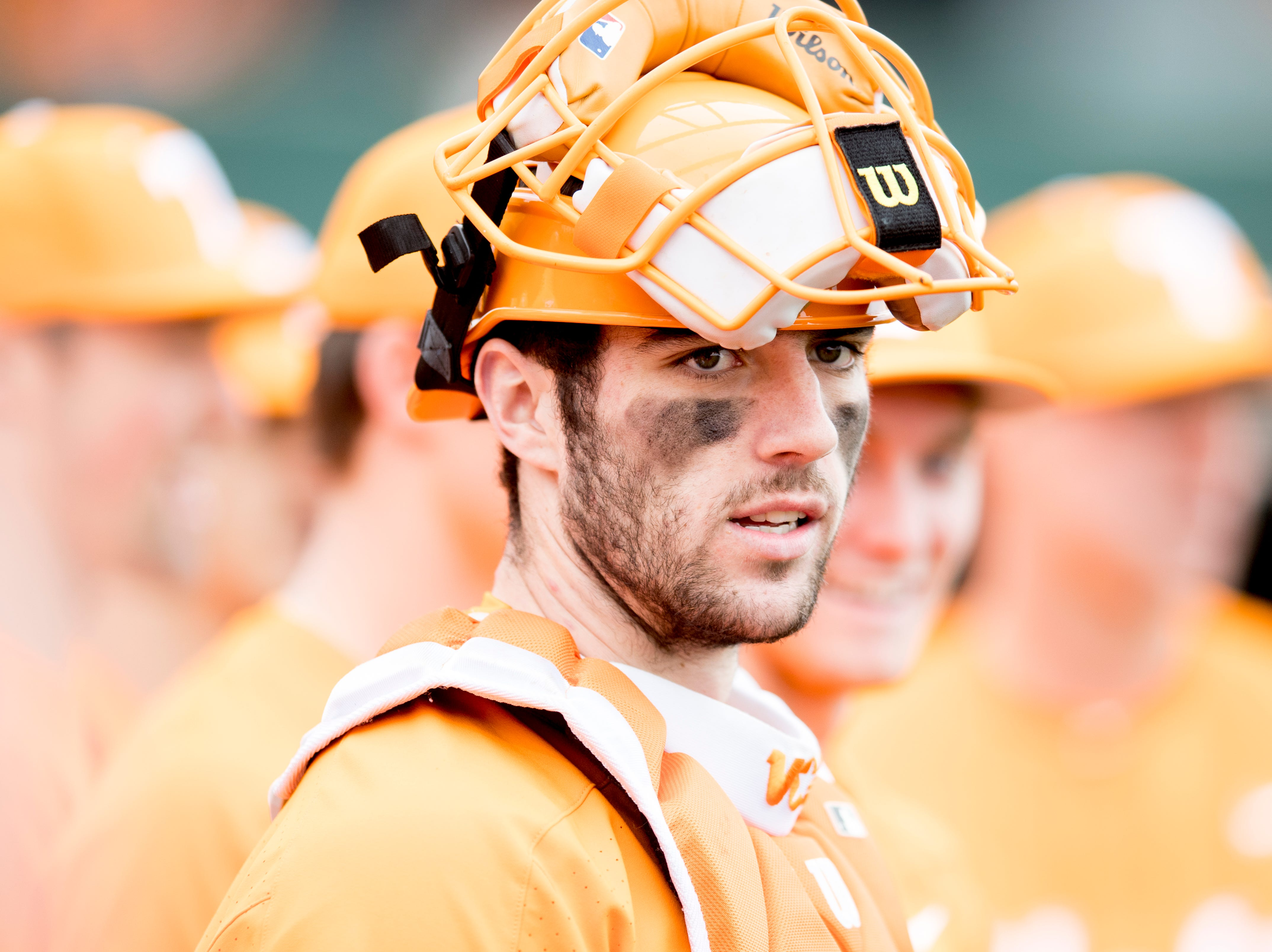 Tennessee catcher Connor Pavolony (17) during a Tennessee baseball home opener game against Appalachian State at Lindsey Nelson Stadium in Knoxville, Tennessee on Saturday, February 16, 2019.