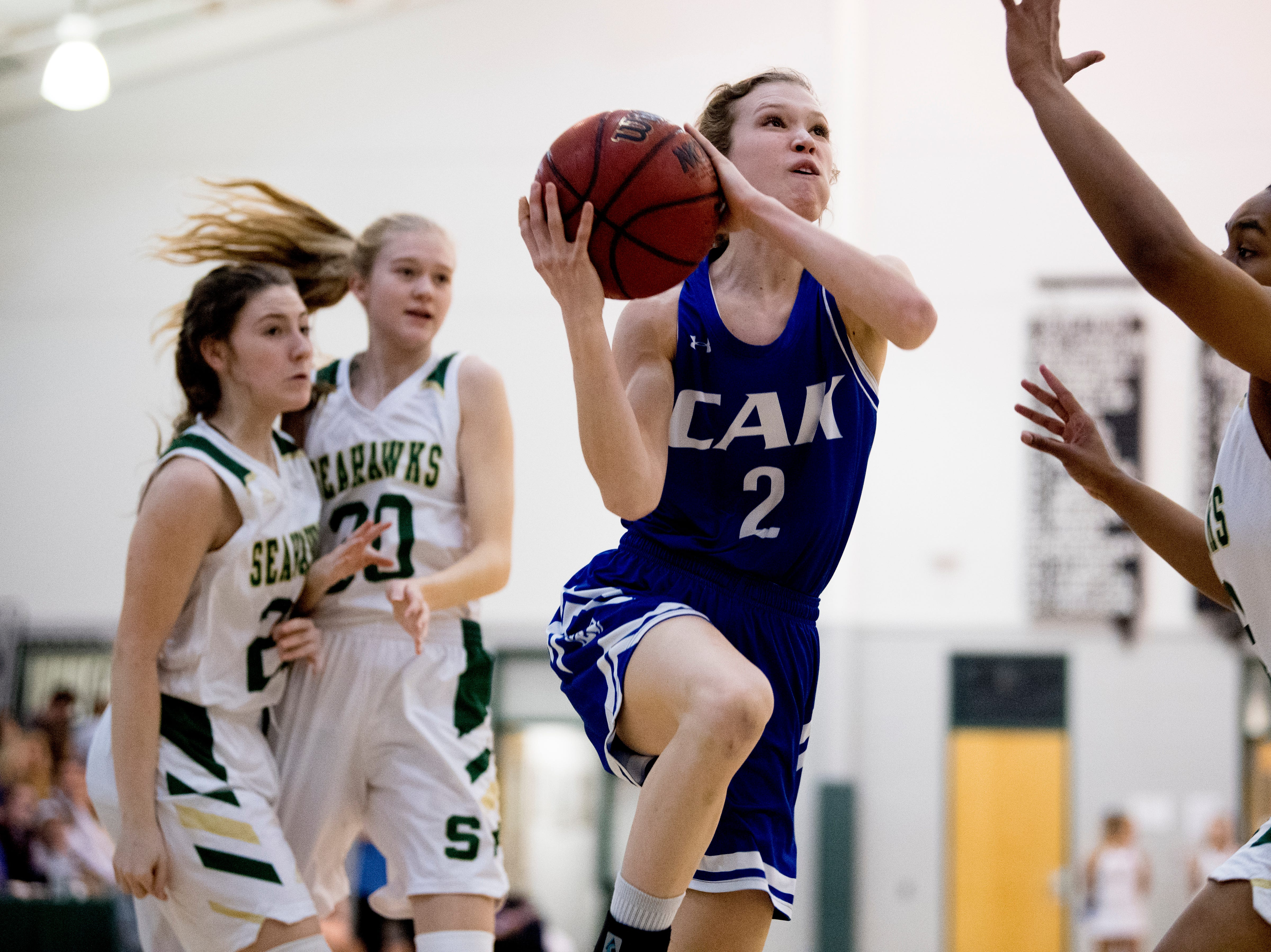 CAK's Claire Brock (2) goes for a layup during a semifinal game between CAK and Silverdale at Webb School of Knoxville in Knoxville, Tennessee on Friday, February 15, 2019.