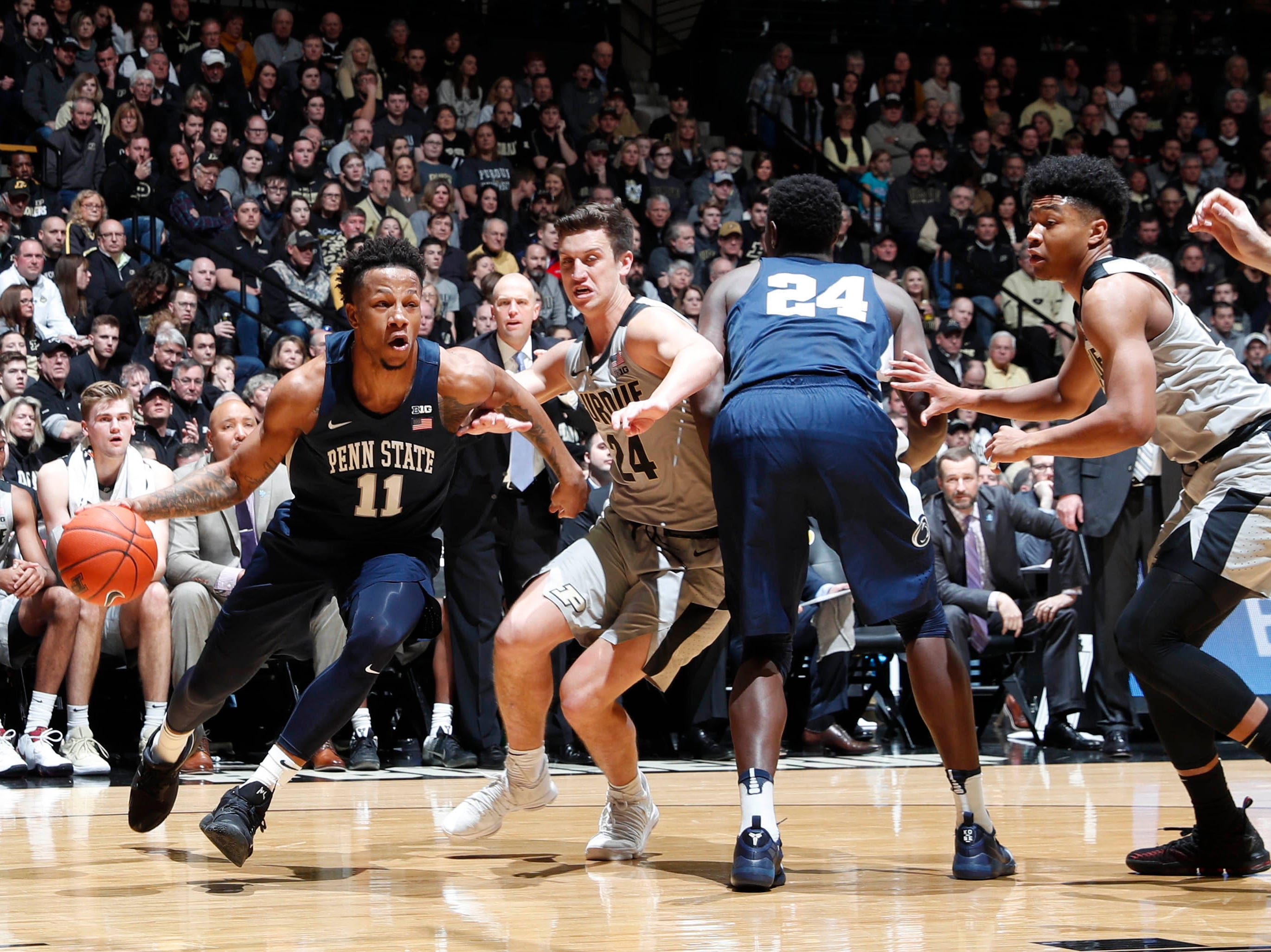 Feb 16, 2019; West Lafayette, IN, USA; Penn State Nittany Lions forward Lamar Stevens (11) drives to the basket against Purdue Boilermakers forward Grady Eifert (24) during the first half at Mackey Arena. Mandatory Credit: Brian Spurlock-USA TODAY Sports