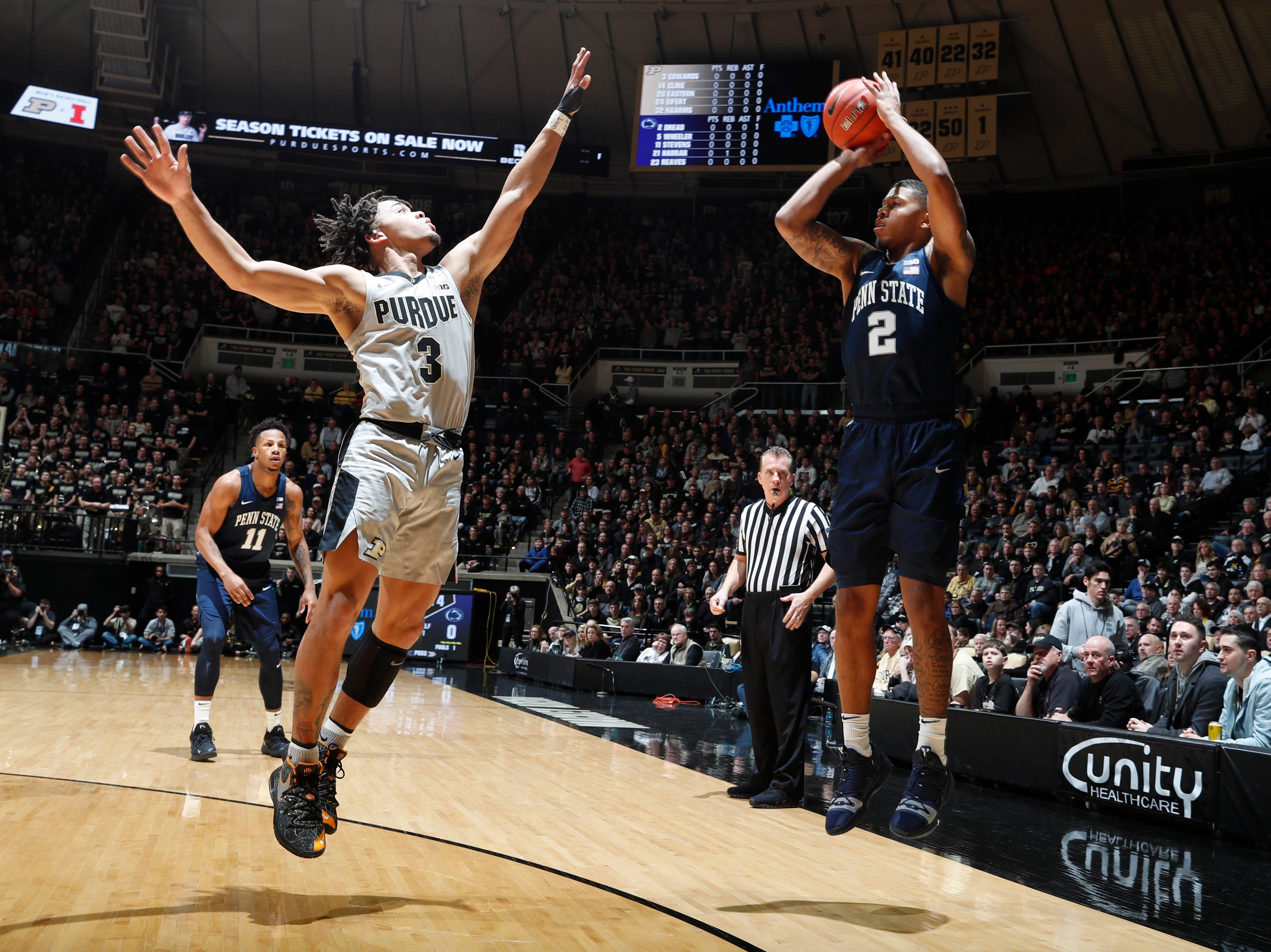 Feb 16, 2019; West Lafayette, IN, USA; Penn State Nittany Lions guard Myles Dread (2) takes a shot against Purdue Boilermakers guard Carsen Edwards (3) during the first half at Mackey Arena. Mandatory Credit: Brian Spurlock-USA TODAY Sports