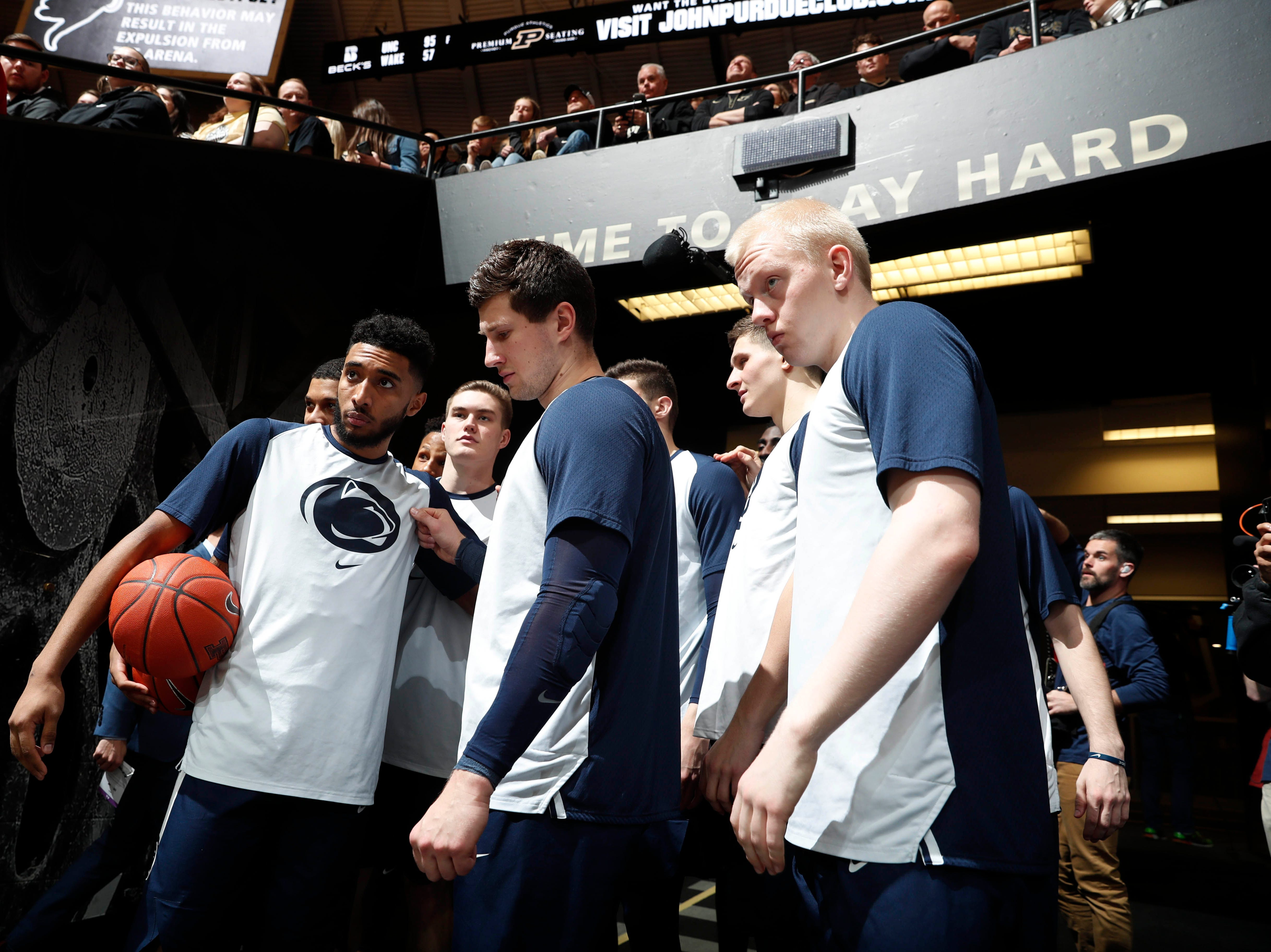 Feb 16, 2019; West Lafayette, IN, USA; Penn State Nittany Lions huddle up in the tunnel before the game against the Purdue Boilermakers at Mackey Arena. Mandatory Credit: Brian Spurlock-USA TODAY Sports