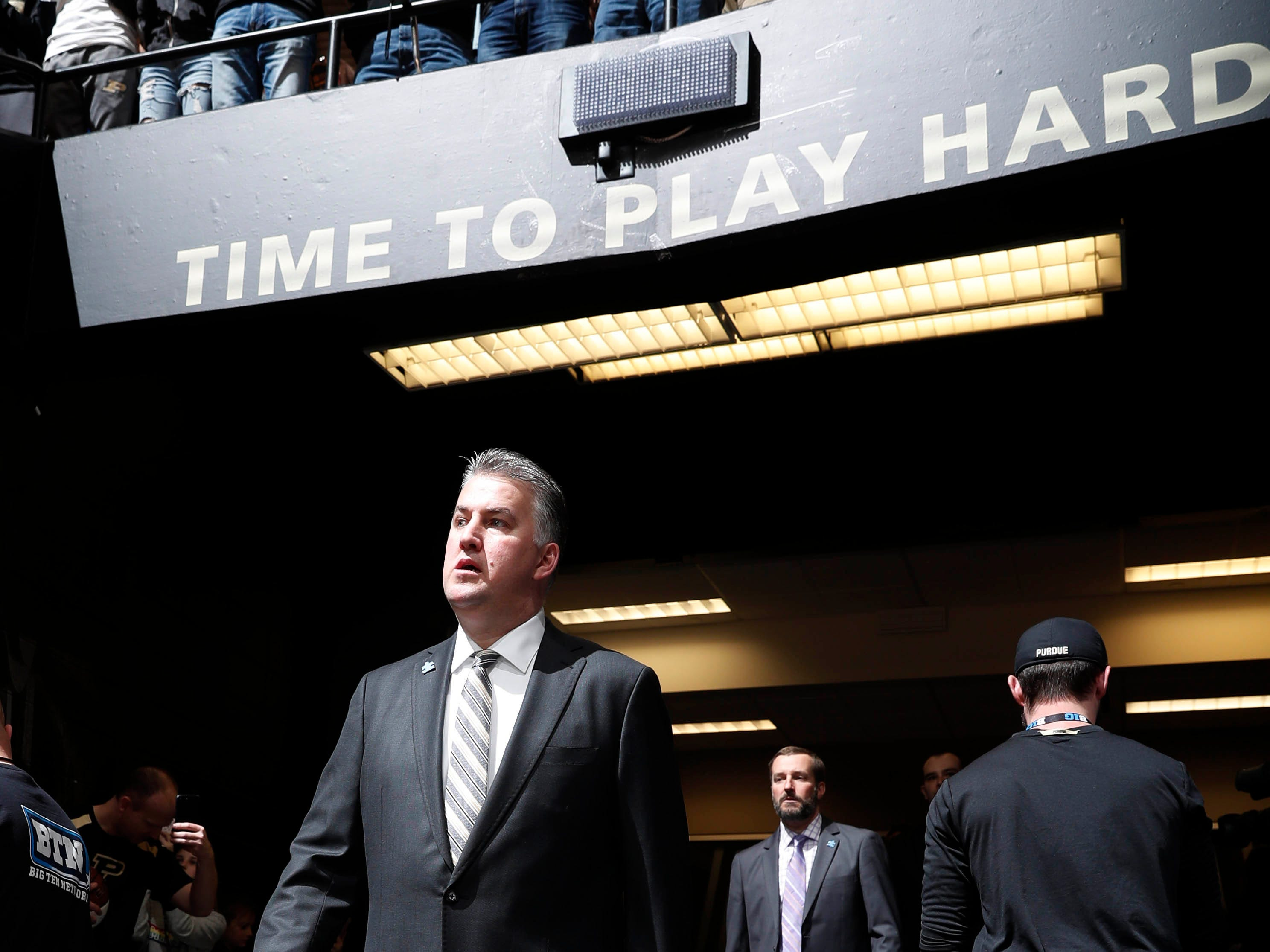 Feb 16, 2019; West Lafayette, IN, USA; Purdue Boilermakers coach Matt Painter walks through the tunnel to the playing floor before the game against the Penn State Nittany Lions at Mackey Arena. Mandatory Credit: Brian Spurlock-USA TODAY Sports