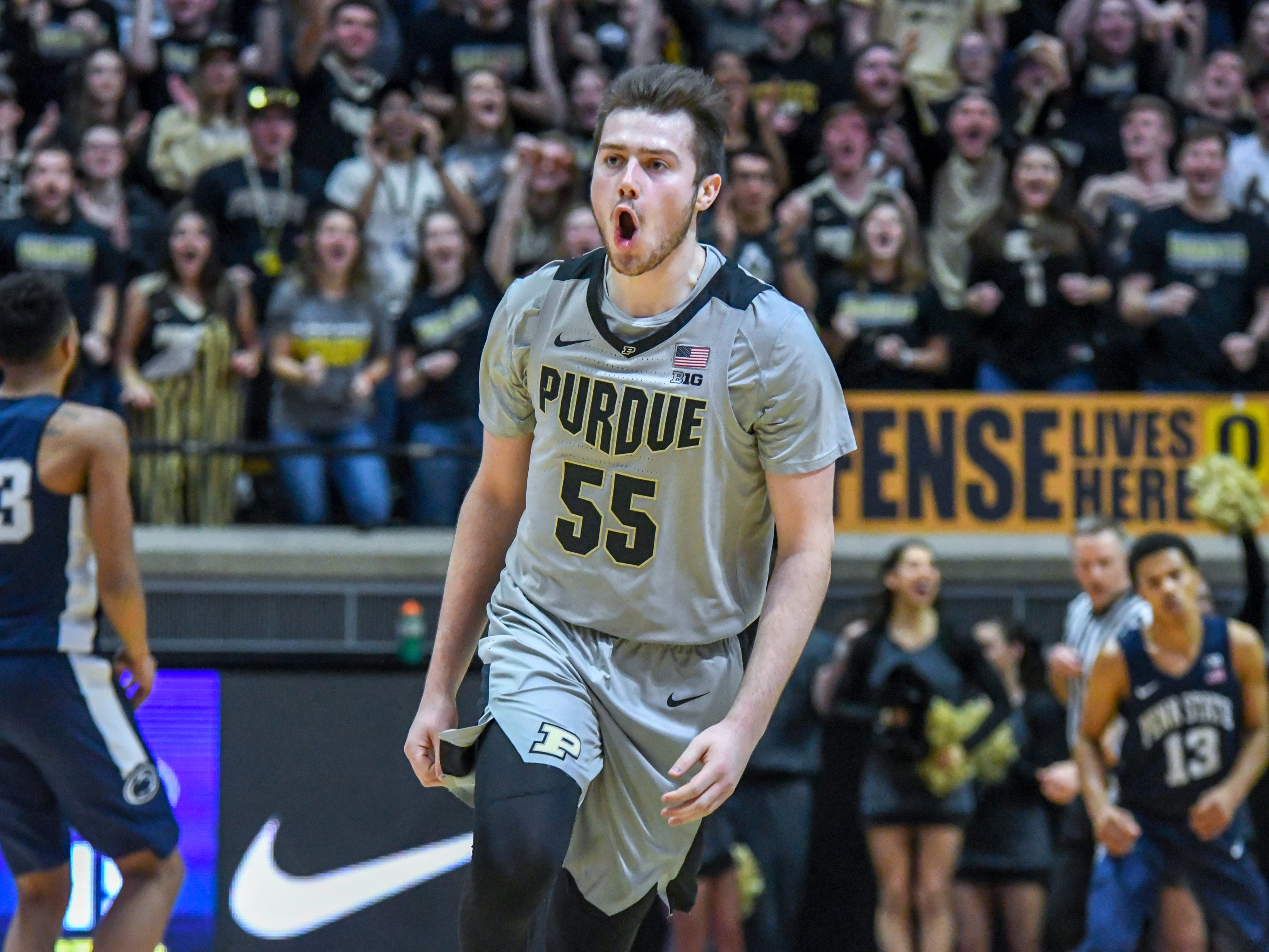 Purdue's Sasha Stefanovic celebrates hitting a basket in the first half at Purdue on Saturday February 16, 2019.