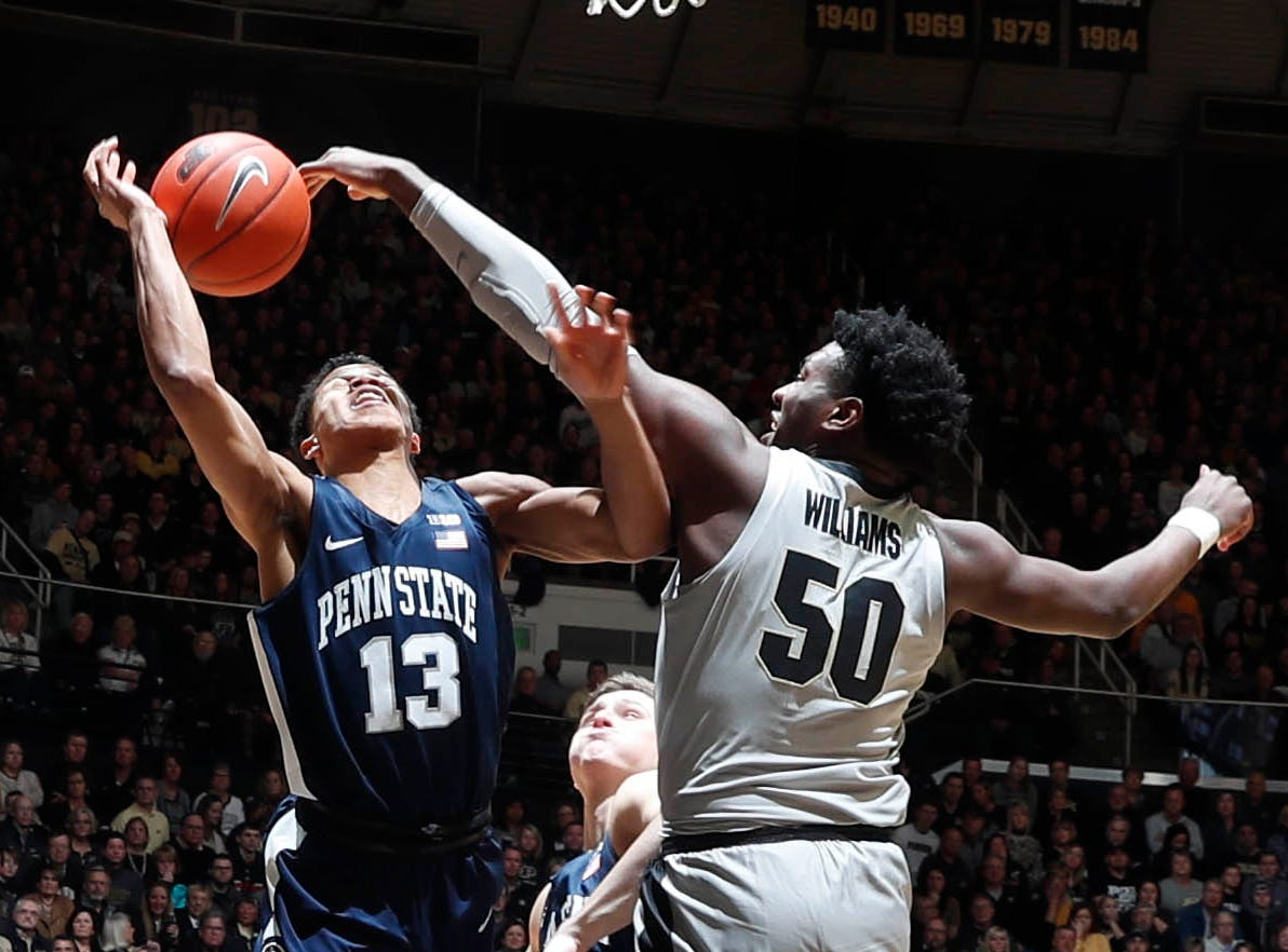 Feb 16, 2019; West Lafayette, IN, USA; Purdue Boilermakers forward Trevion Williams (50) blocks the shot taken by Penn State Nittany Lions guard Rasir Bolton (13) during the first half at Mackey Arena. Mandatory Credit: Brian Spurlock-USA TODAY Sports