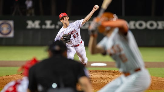 Lefty Austin Perrin, shown here against Texas earlier this season, can start or come out of the bullpen for UL.