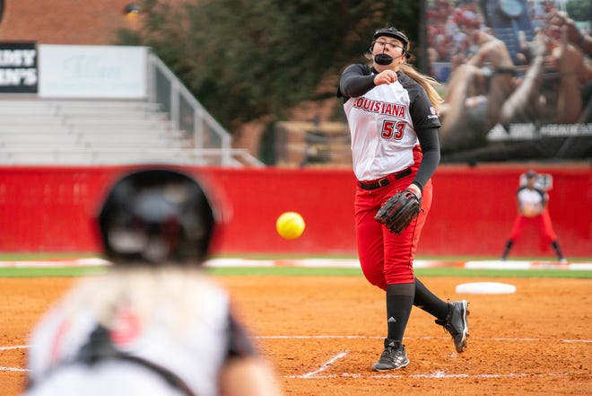 UL's Kandra Lamb throws a pitch as the Ragin' Cajuns take on the Jackson State Tigers at Lamson Park on Feb. 15, 2019.