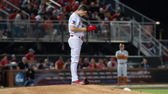 UL pitcher Gunner Leger takes a moment on the mound before facing Texas earlier this month.