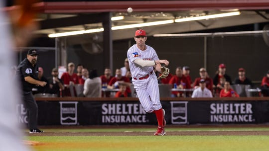 "Third baseman O'Neal Lochridge had one of UL's four hits in its season-opening loss to No. 16 Texas on Friday at M.L. ""Tigue"" Moore Field at Russo Park."