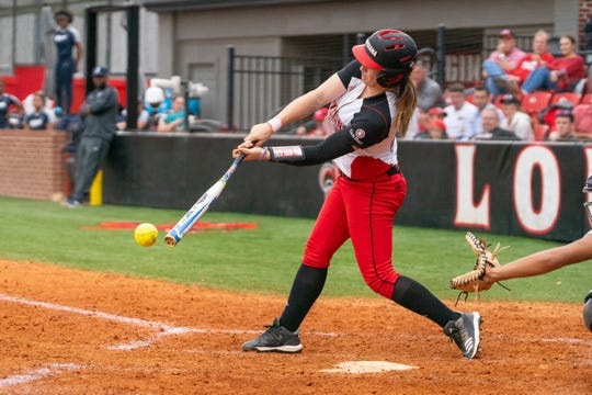 UL's Alissa Dalton connects with the pitch as the Ragin' Cajuns take on the Jackson State Tigers at Lamson Park on Feb. 15, 2019.