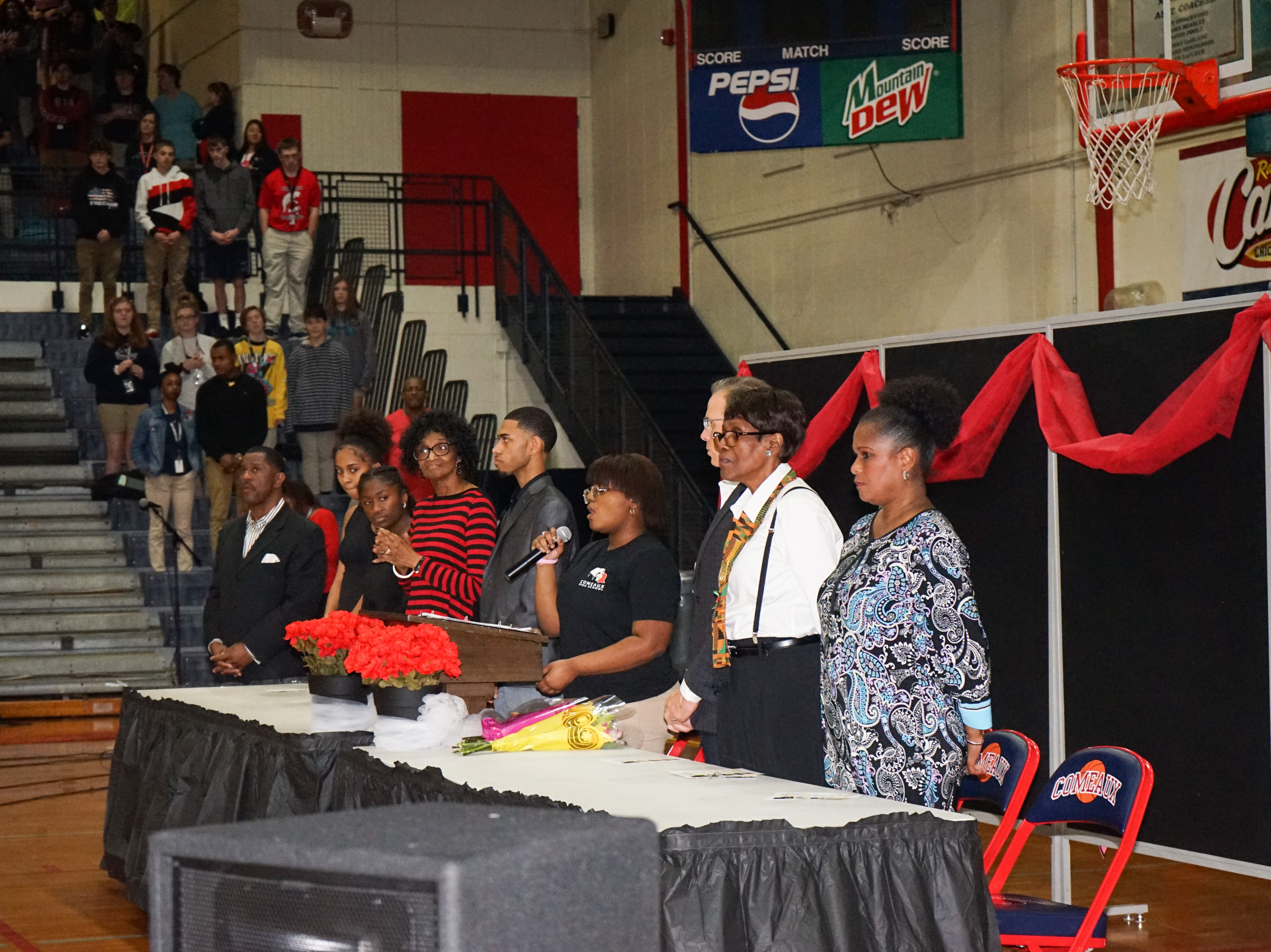 Comeaux High School puts on a school-wide program Feb. 15 celebrating Black History Month.