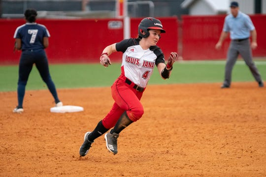UL's Keeli Milligan races to third base as the Ragin' Cajuns take on the Jackson State Tigers at Lamson Park on Feb. 15, 2019.