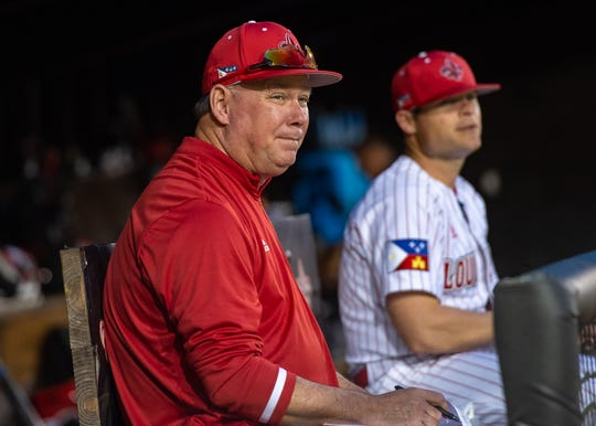 UL baseball coach Tony Robichaux is shown in the dugout during the Cajuns' home opener Feb. 15 against Texas in Lafayette.