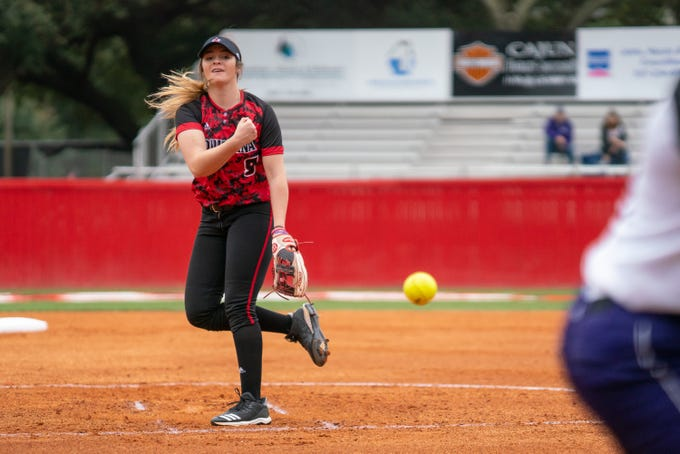 UL's pitcher Summer Ellyson throws a pitch as the Ragin' Cajuns take on Stephen F. Austin at Lamson Park on Saturday, Feb. 16, 2019.