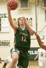 Tony Honkala of Howell scores two of his 10 points in a 57-45 victory at Novi on Friday, Feb. 15, 2019.