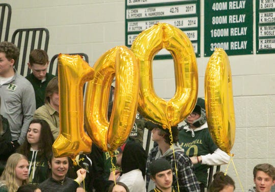 Howell basketball fans acknowledge Josh Palo's 1,000th career point in a 57-45 victory at Novi on Friday, Feb. 15, 2019.