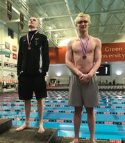 Lexington's Cayman Eichler and Ontario's Kenton Cordrey finished second and third, respectively, in the 100 freestyle in Friday's Division II district swim meet at Bowling Green.