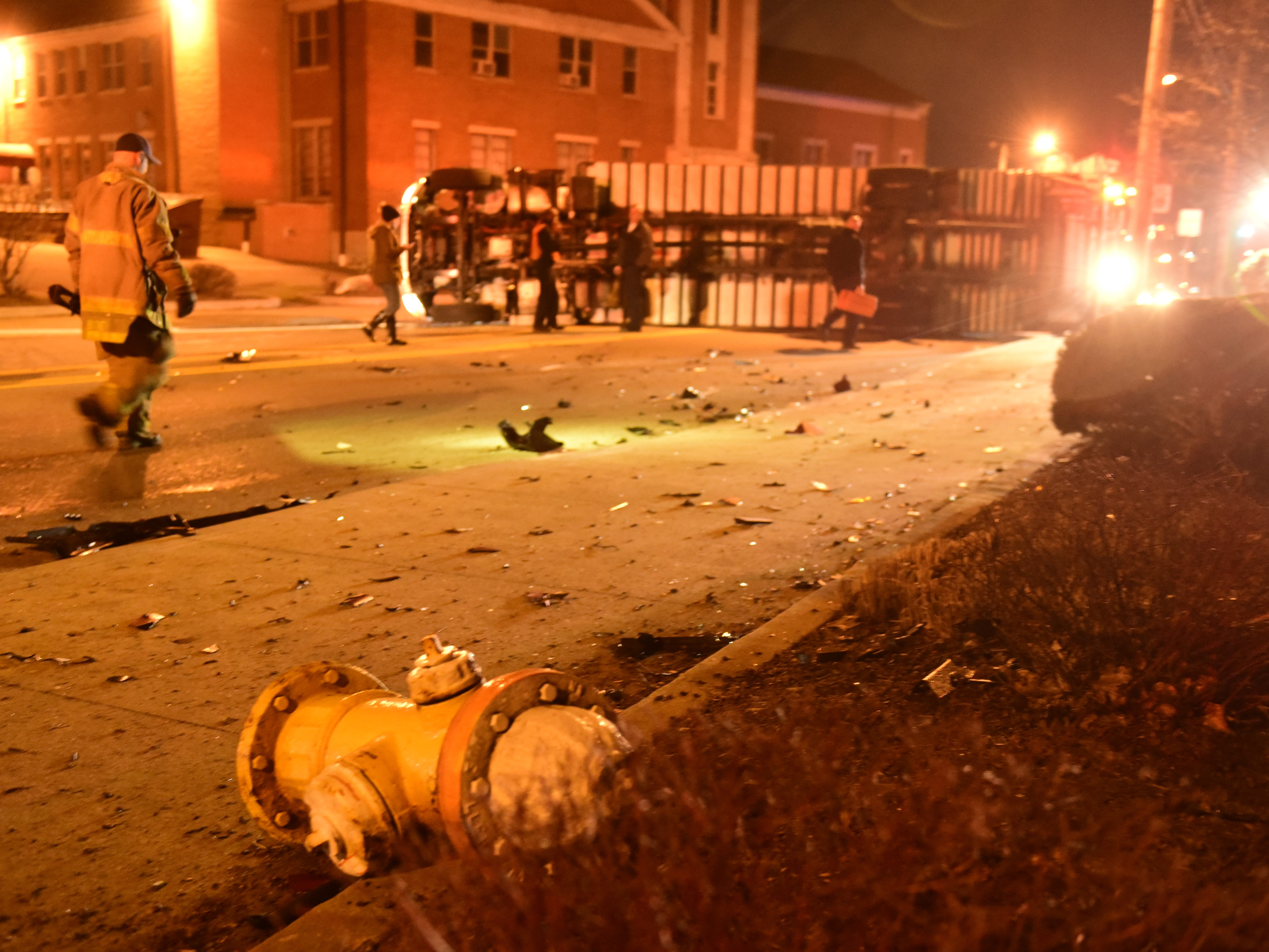 A fire hydrant was broken when a tractor-trailer rolled about 9:30 p.m. Friday on South Main Street.