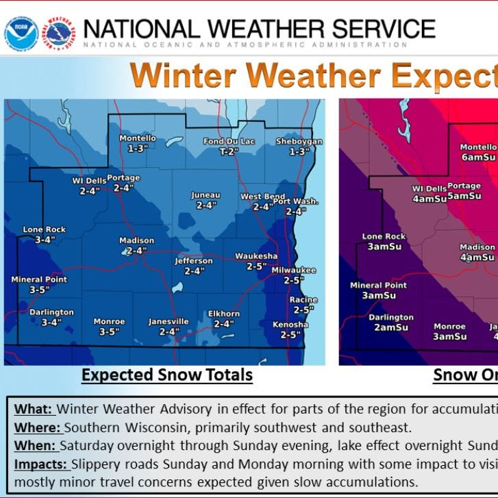3 to 5 inches of snow, slippery conditions expected Sunday and Monday