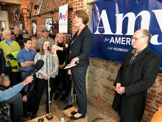 Democratic U.S. Sen. Amy Klobuchar of Minnesota addressed supporters Saturday in Eau Claire as she began her first campaign swing of the presidential race.