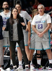 Bucks co-owner Marc Lasry (23) competed in the NBA all-star celebrity game Friday night on a team coached by Sue Bird.