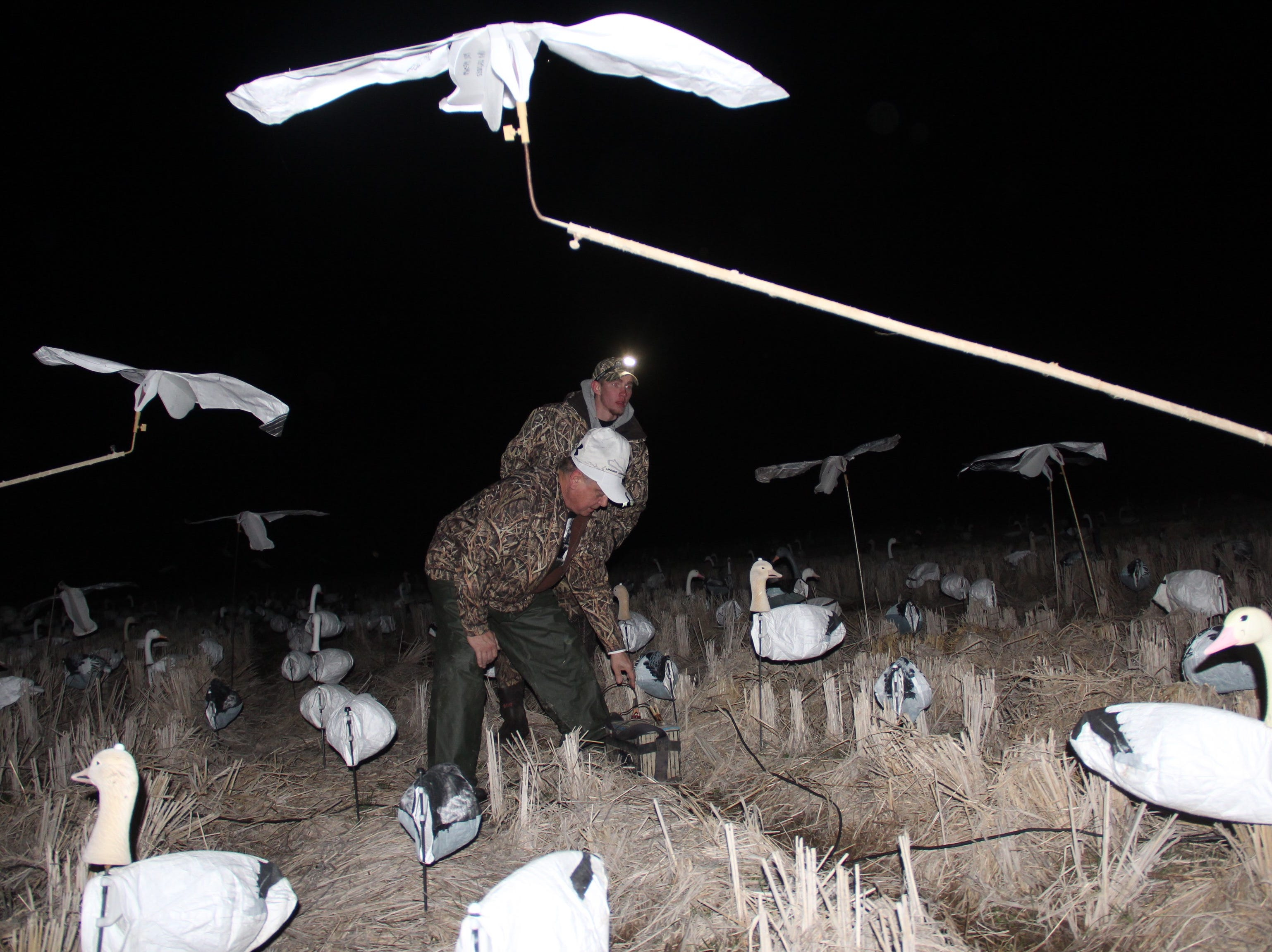 Pat Gerbensky of Genesee, Wisconsin (front) and Jake Lechner of East Troy, Wisconsin connect battery cables to a vortex decoy in a harvested rice field in northeastern Arkansas. The mechanical device spins white cloth decoys on long arms around a central pivot.