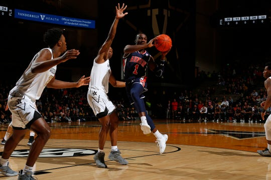 Auburn point guard Jared Harper looks to pass during the first half at Memorial Gym on February 16, 2019 in Nashville, Tennessee.