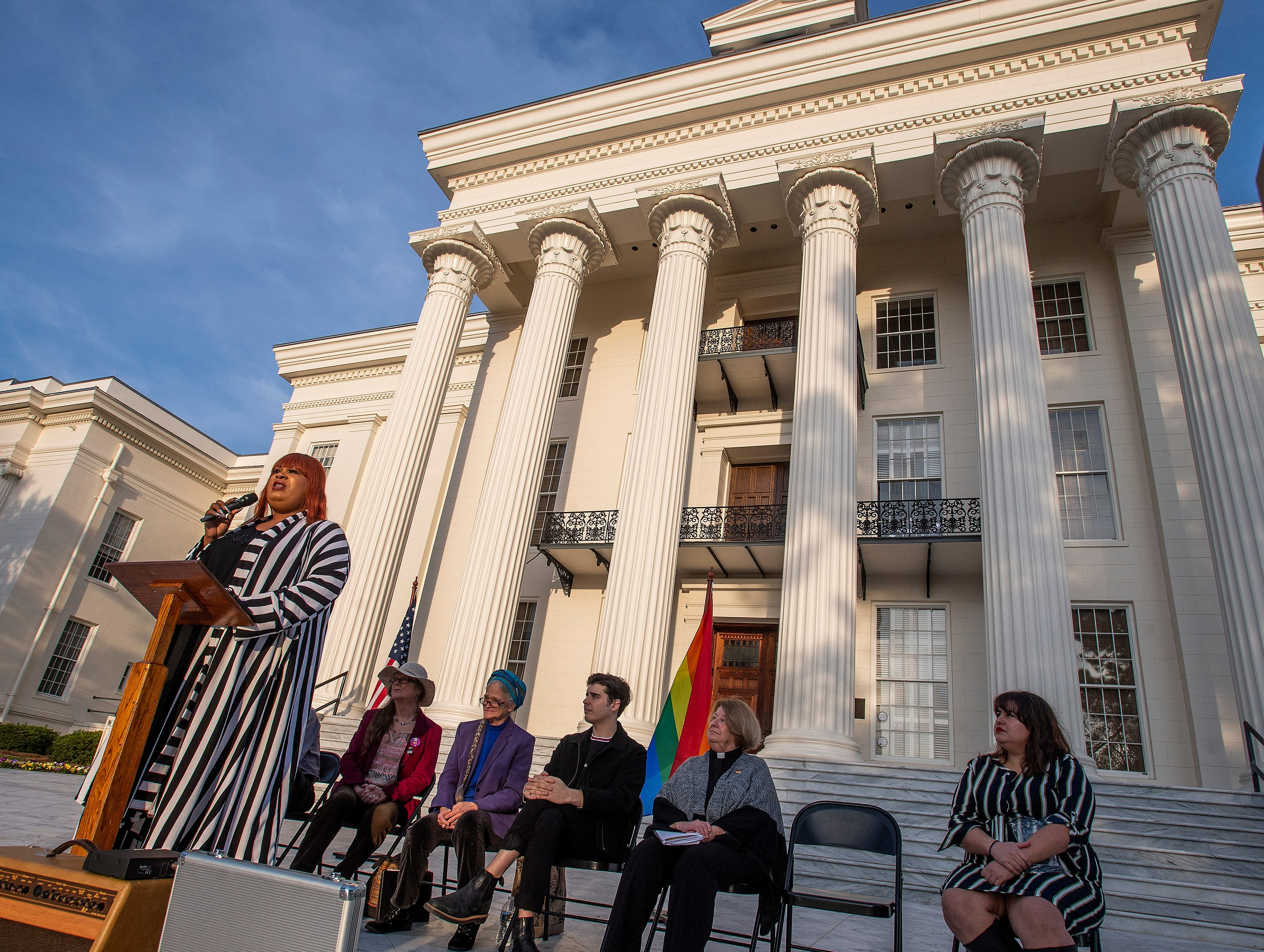 Doroneisha Duncan - Boyd, of TAKE Birmingham is the keynote speaker during the Vigil for Victims of Hate and Violence held on the state capitol steps in Montgomery, Ala., on Saturday February 16, 2019.