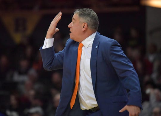 Feb 16, 2019; Nashville, TN, USA; Auburn Tigers head coach Bruce Pearl reacts in the first half against the Vanderbilt Commodores at Memorial Gymnasium. Mandatory Credit: Jim Brown-USA TODAY Sports