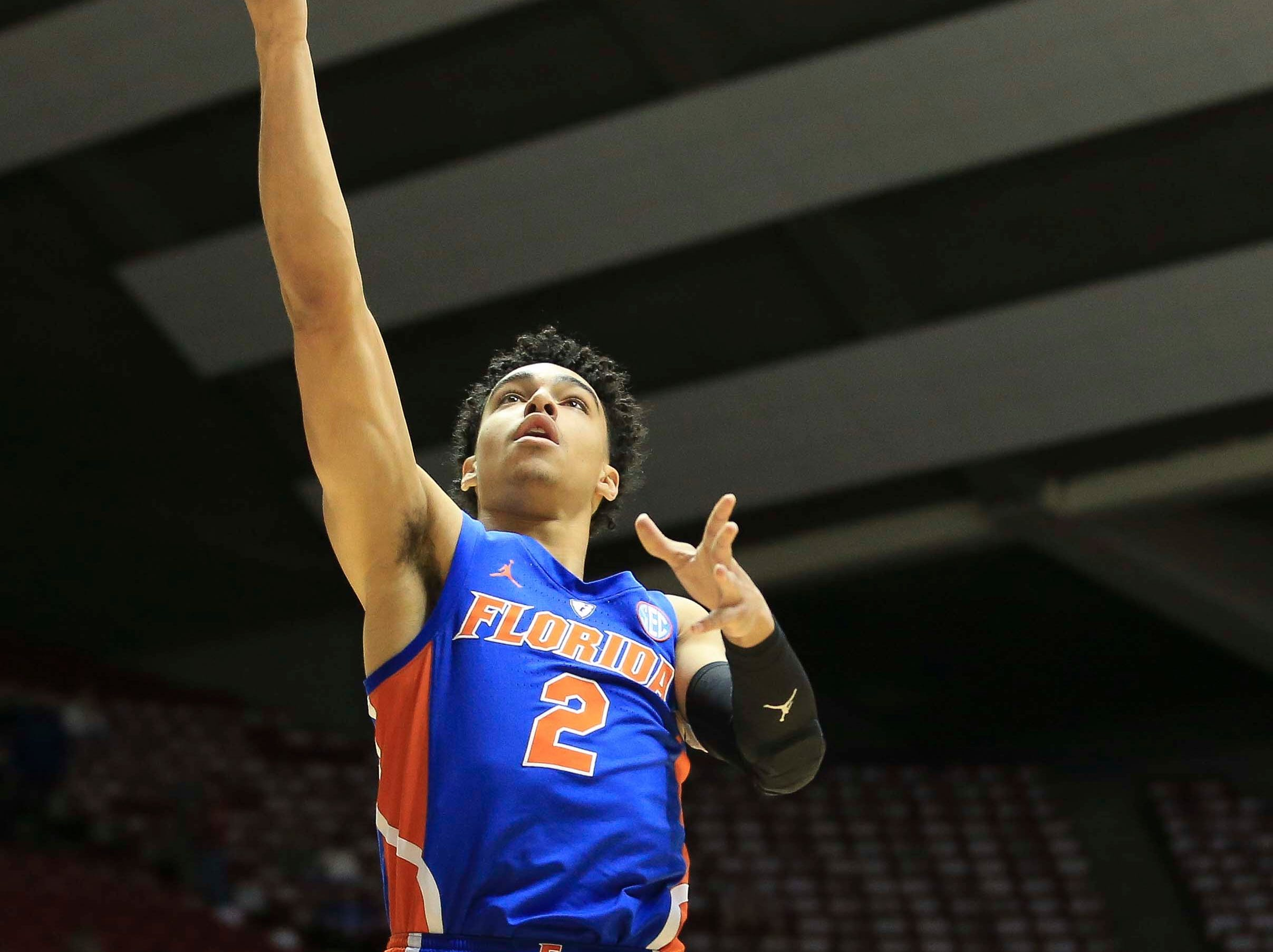 Feb 16, 2019; Tuscaloosa, AL, USA; Florida Gators guard Andrew Nembhard (2) shoots during the first half against Alabama Crimson Tide at Coleman Coliseum. Mandatory Credit: Marvin Gentry-USA TODAY Sports