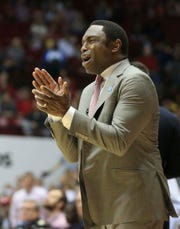 Feb 16, 2019; Tuscaloosa, AL, USA; Alabama Crimson Tide head coach Avery Johnson during the first half against Florida Gators at Coleman Coliseum. Mandatory Credit: Marvin Gentry-USA TODAY Sports