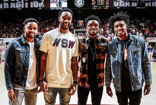 Trevor Releford, Levi Randolph, Retin Obasohan and Collin Sexton attend the Alabama men's basketball game against Florida in Tuscaloosa, Alabama, on Feb. 16, 2019.