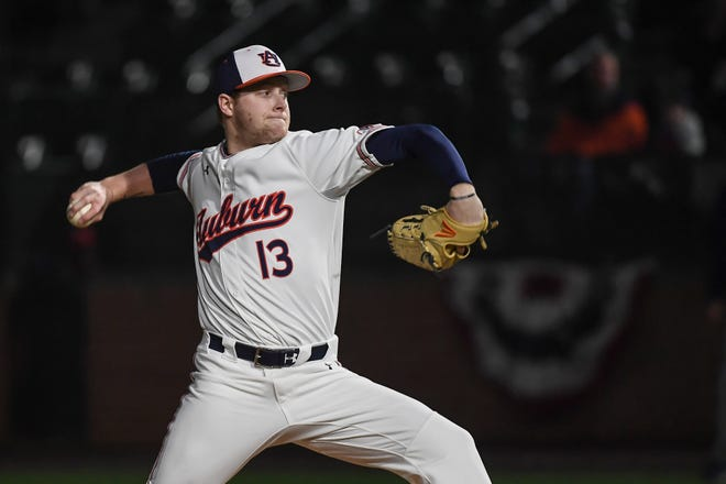 Auburn's Davis Daniel pitches on opening day against Georgia Southern on Friday, February 15, 2019, in Auburn, Ala.