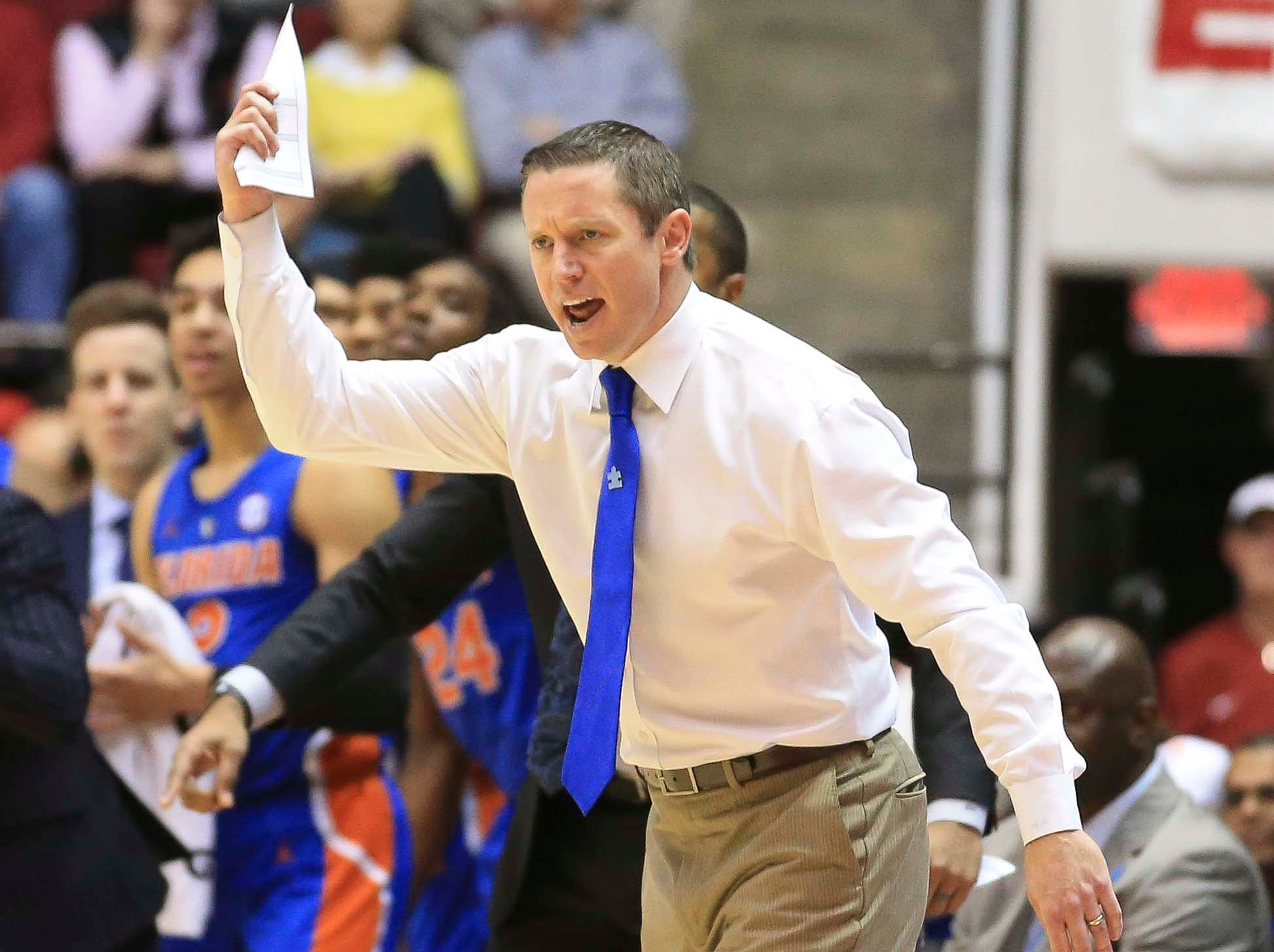 Feb 16, 2019; Tuscaloosa, AL, USA; Florida Gators head coach Mike White reacts to his teams play during the first half against Alabama Crimson Tide at Coleman Coliseum. Mandatory Credit: Marvin Gentry-USA TODAY Sports