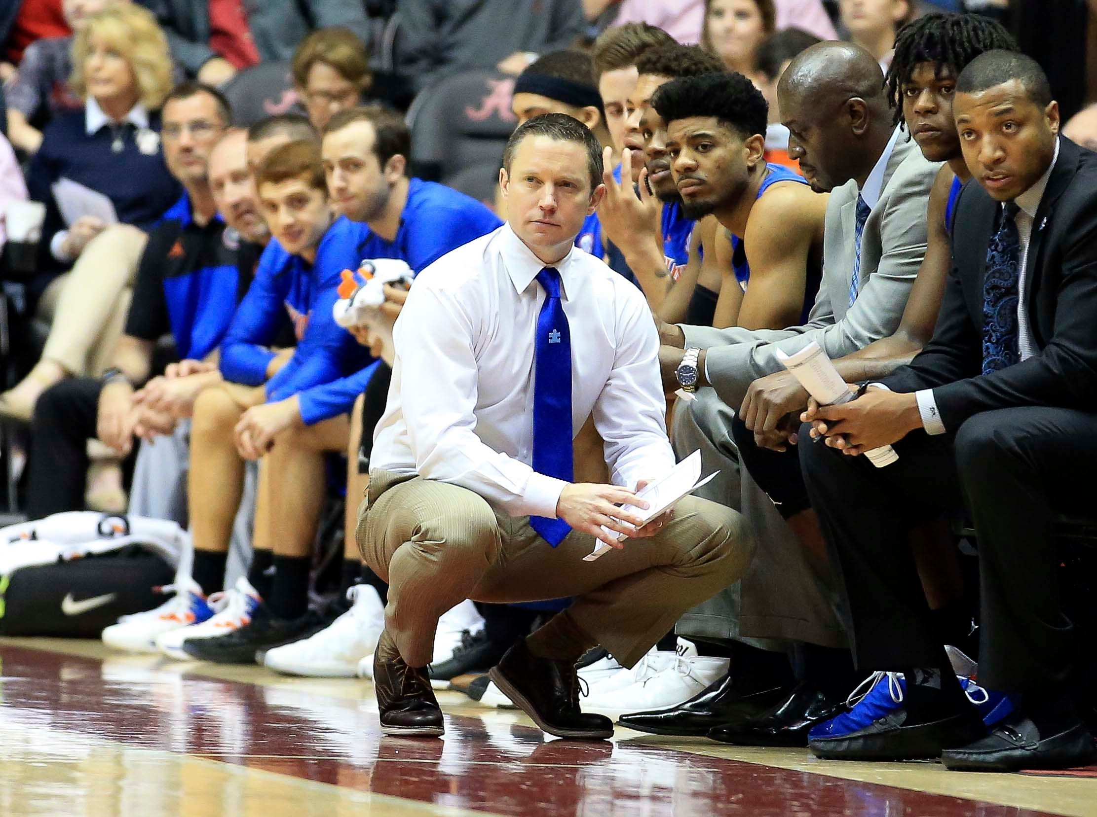 Feb 16, 2019; Tuscaloosa, AL, USA; Florida Gators head coach Mike White during the first half against Alabama Crimson Tide at Coleman Coliseum. Mandatory Credit: Marvin Gentry-USA TODAY Sports