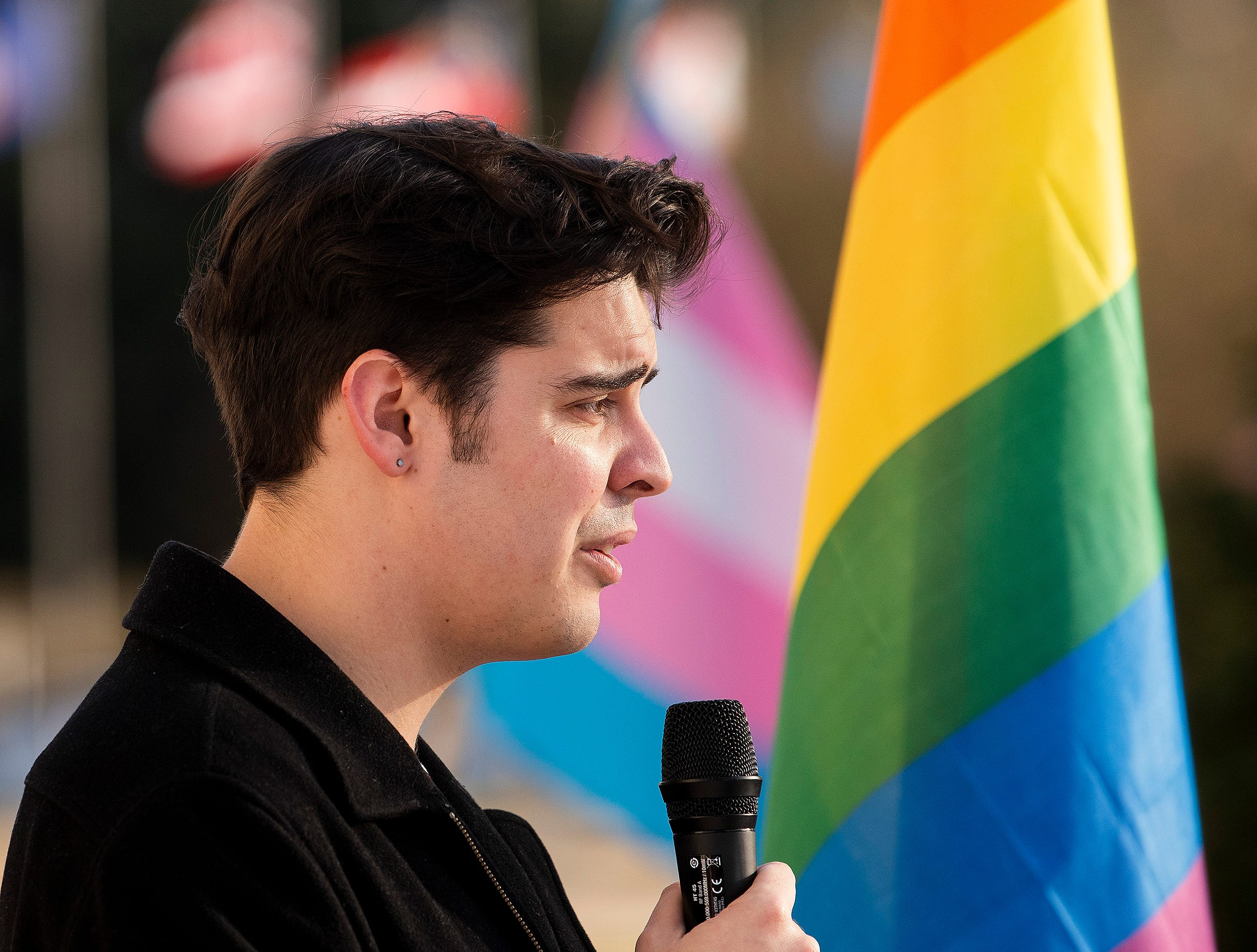 Montgomery Pride United President Jose Vasquez speaks during the Vigil for Victims of Hate and Violence held on the state capitol steps in Montgomery, Ala., on Saturday February 16, 2019.