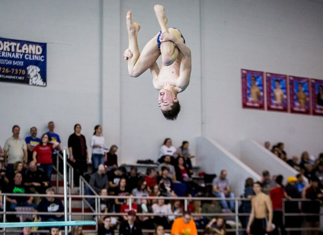 Delta's Sam Bennett competes in the diving portion of the boys swim meet at Jay County High School Saturday, Feb. 16, 2019.