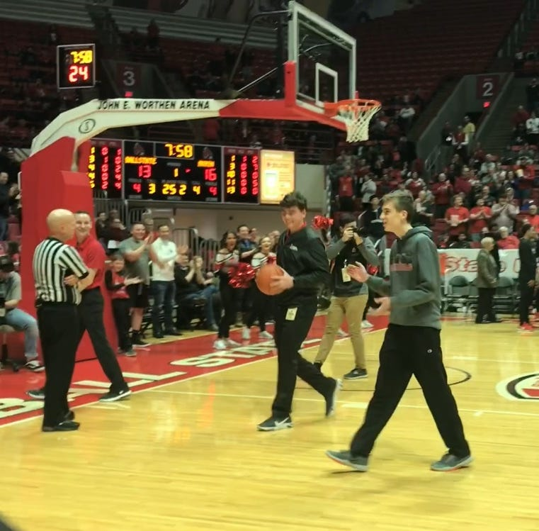 VIDEO: Ball State student hits half-court shot to win $10,000
