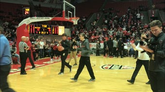 It happened Saturday at Ball State's men's basketball game against Akron.